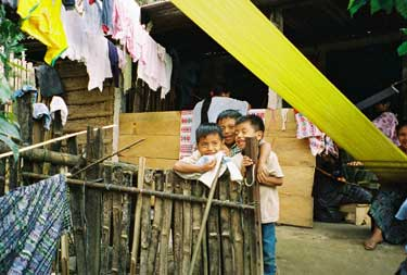 In most areas of Guatemala, boys no longer wear traje or geographically identifiable apparel, but are dressed in jeans and shirts, often imported used from the U.S.  Photo by Margot Blum Schevill 2005.