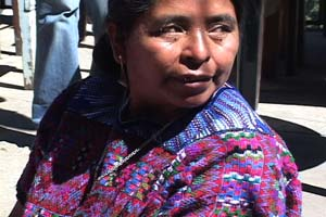 Internationally known weaver Santiaga Mendoza Pabla uses her back strap loom on a patio behind the women's weaving cooperative Estrella de Occidente, which she runs.  Photo by Kathleen Mossman Vitale 2005.