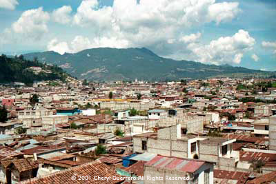 Xela is now a busy city with building in progress in every direction.  Photo by Cheryl Guerrero 2001.